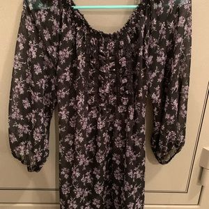 Black and purple floral belted tunic
